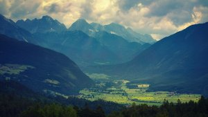 mountains, valley, clouds